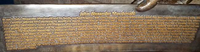 Writing on Sir John A. Macdonald left chair